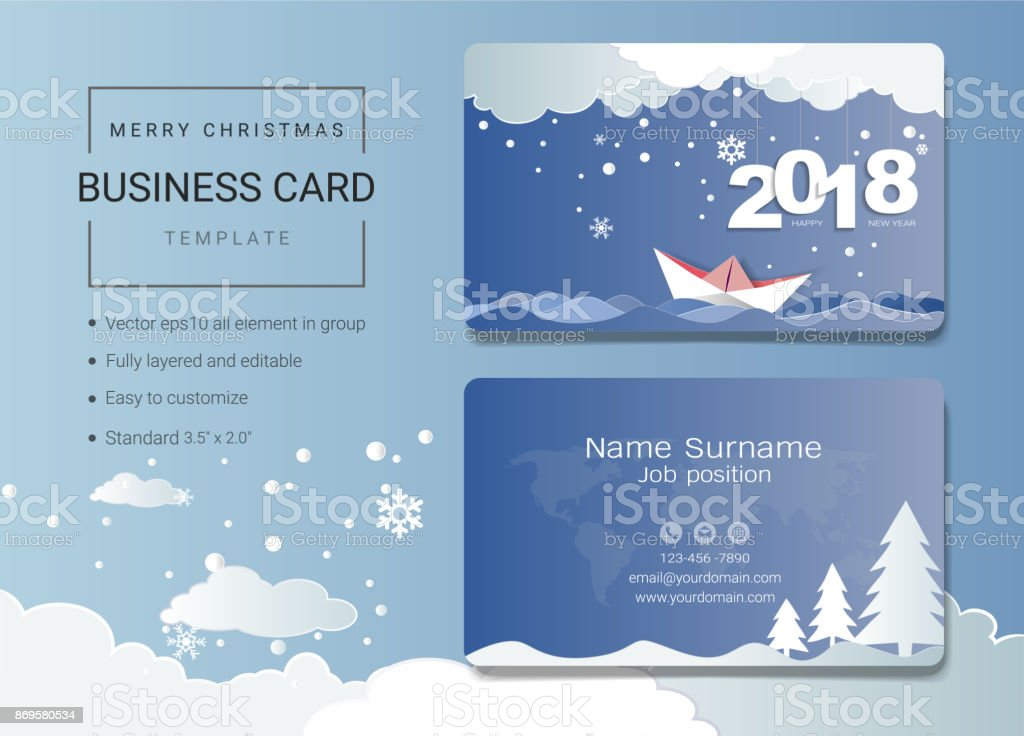 2018 Merry Christmas Business Card Or Name Card Template Simple ...