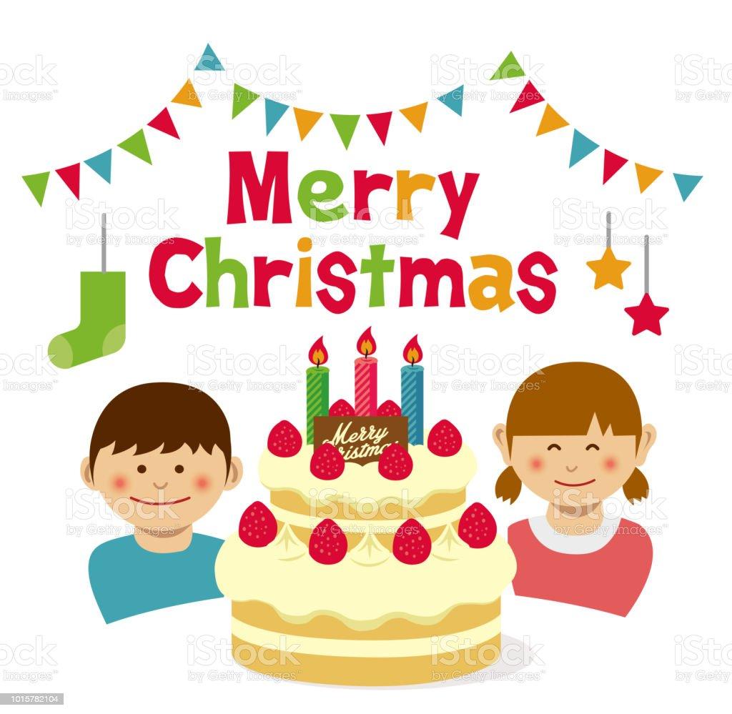 Frohe Weihnachten Kuchen Und Kinder Illustration Stock Vektor Art