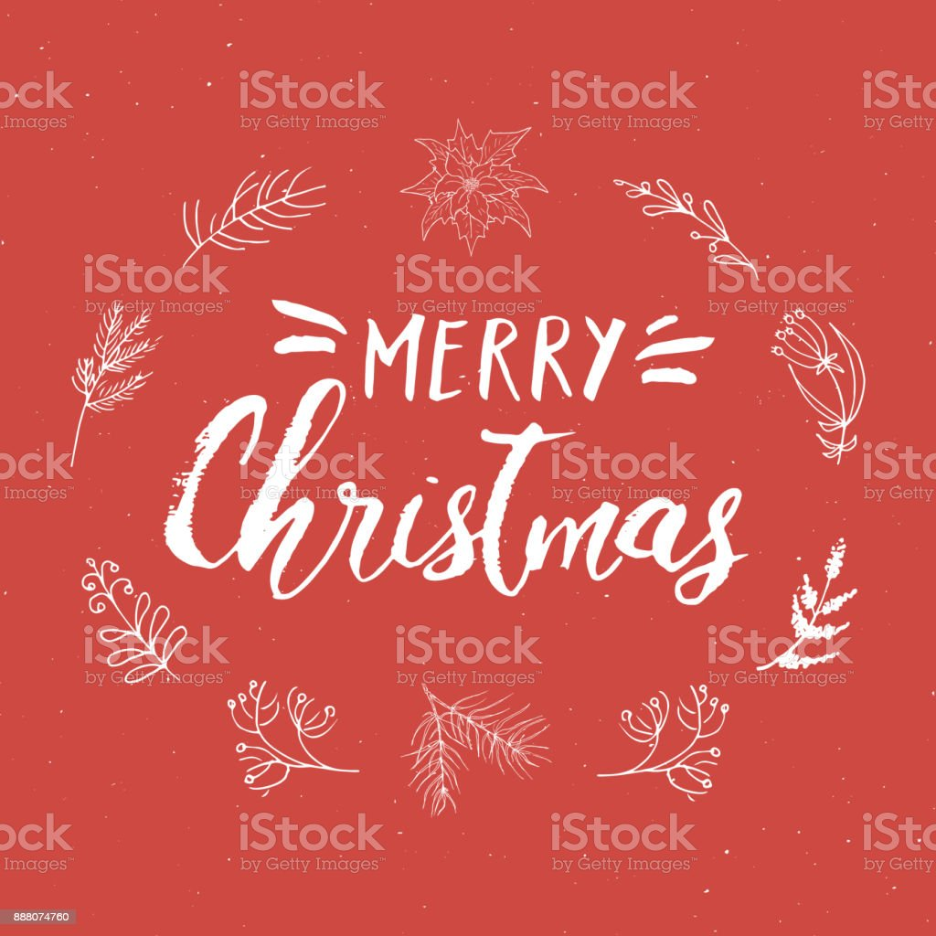 Merry Christmas Calligraphic Lettering Typographic Greetings Design
