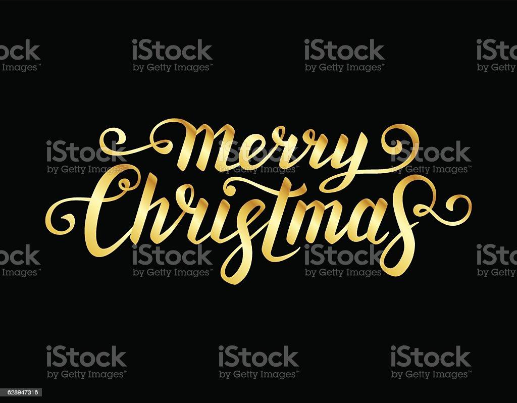 Merry Christmas calligraphic Lettering. vector art illustration