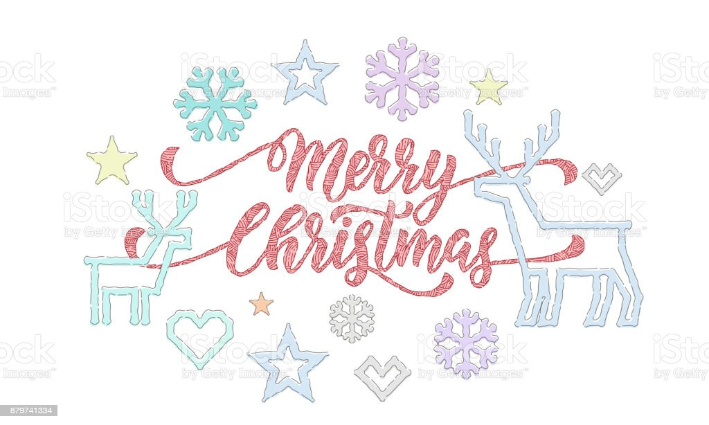 Ilustración de Feliz Navidad Caligrafía Fuente Y Bordado ...