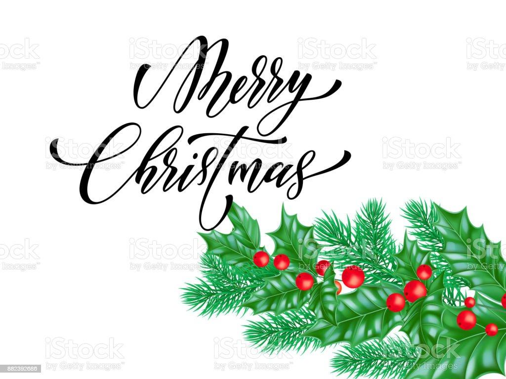 Letra De Caligrafía Navidad Feliz Sobre Fondo Blanco Premium Para La ...