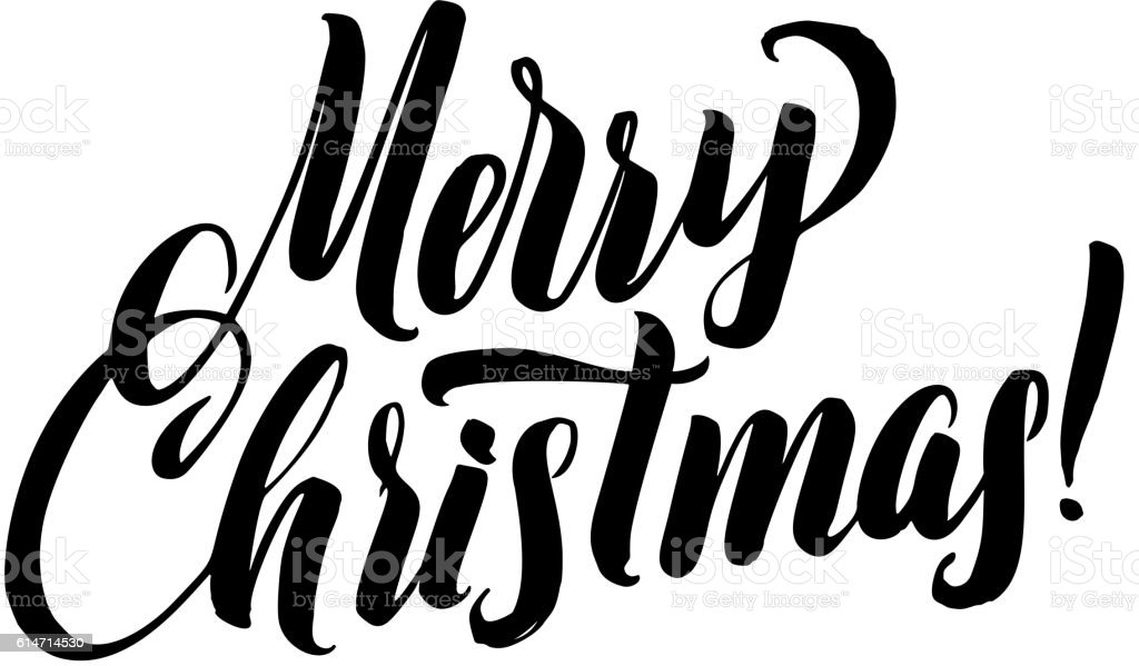 Merry Christmas Images Black And White.Merry Christmas Calligraphy Greeting Card Black Typography