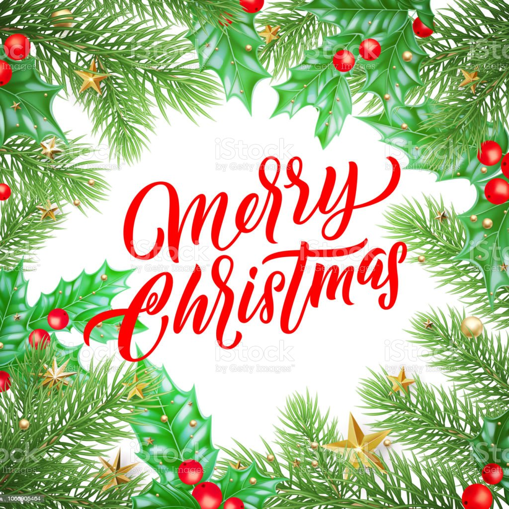 merry christmas calligraphy lettering and xmas holiday decoration background design vector new year greeting card