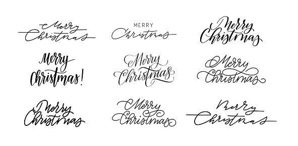 Merry Christmas calligraphy set. Modern and retro design