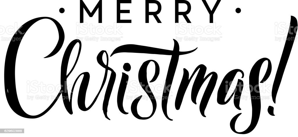 Merry Christmas Calligraphy Template Greeting Card Black Typography