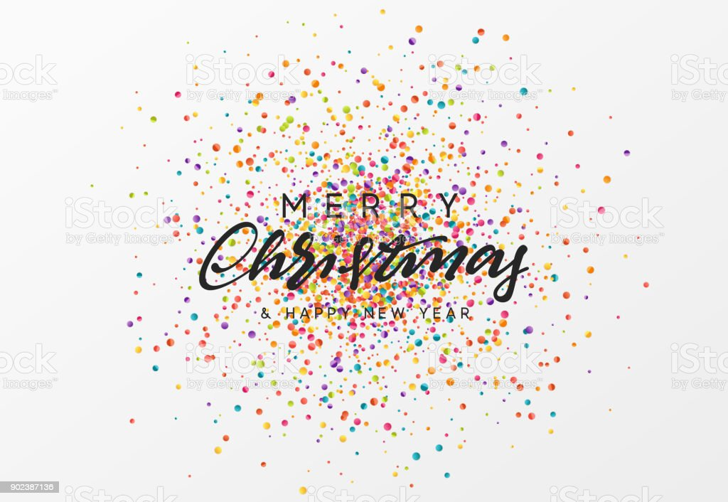 Merry Christmas calligraphy text. Background with colorful confetti texture vector art illustration
