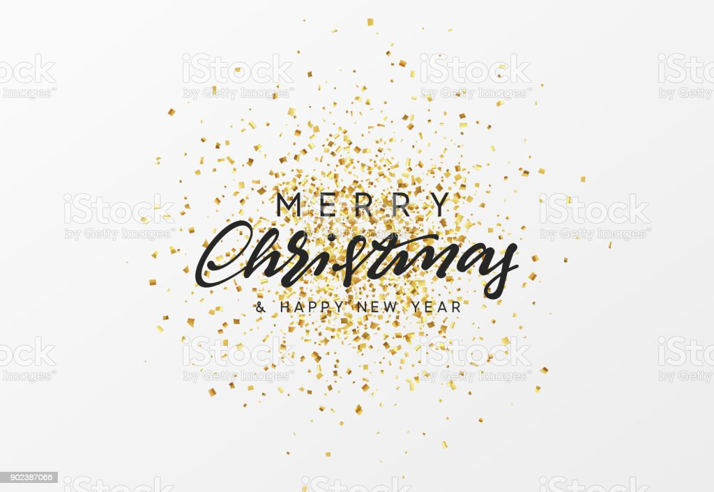 Merry Christmas calligraphy text. Background with golden confetti vector art illustration