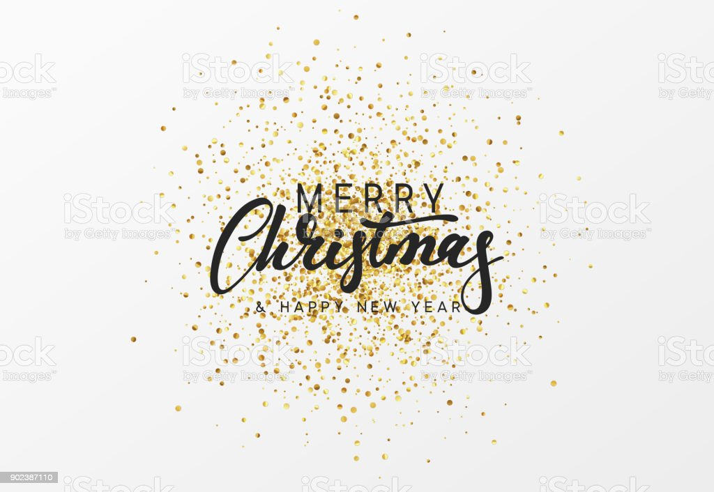 Merry Christmas calligraphy text. Background with golden glitter texture vector art illustration