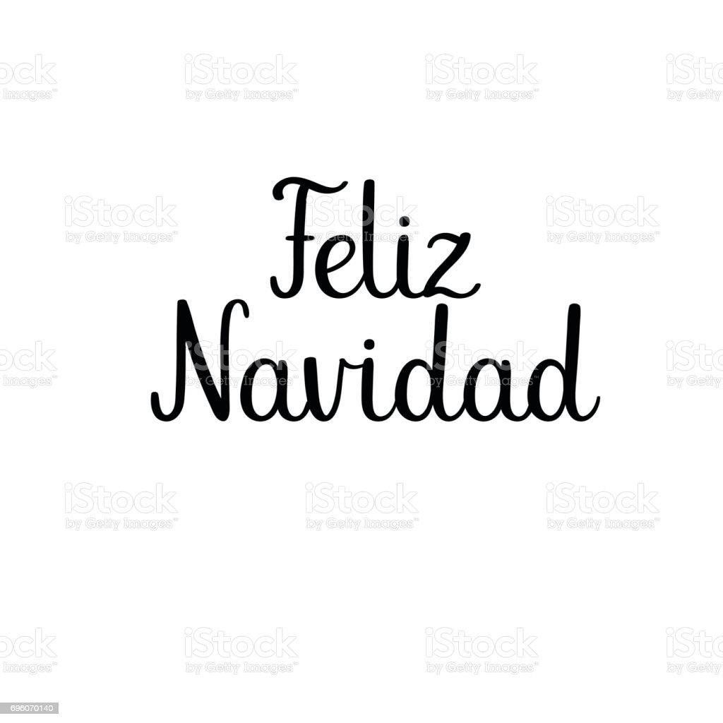 merry christmas calligraphy text feliz navidad spanish handwritten greeting card royalty free
