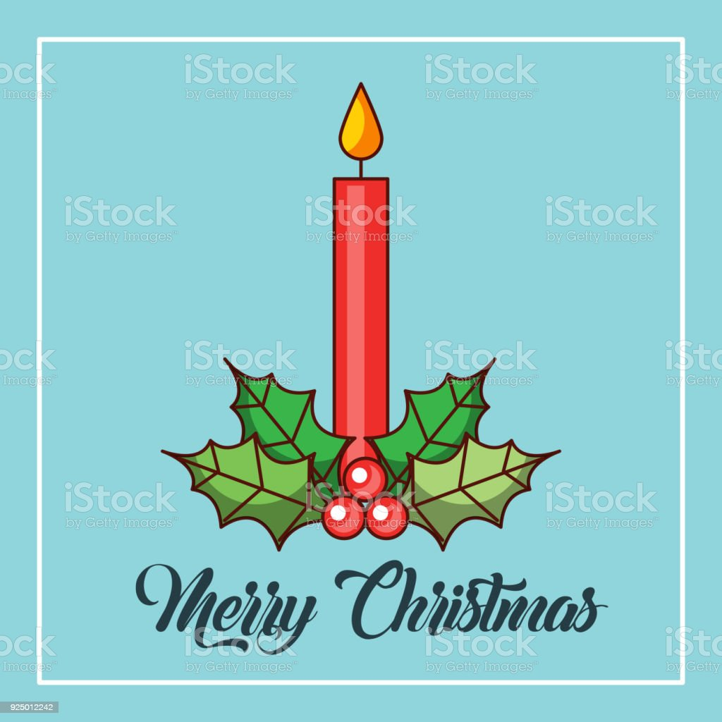 merry christmas candles burning holly berry decoration vector art illustration