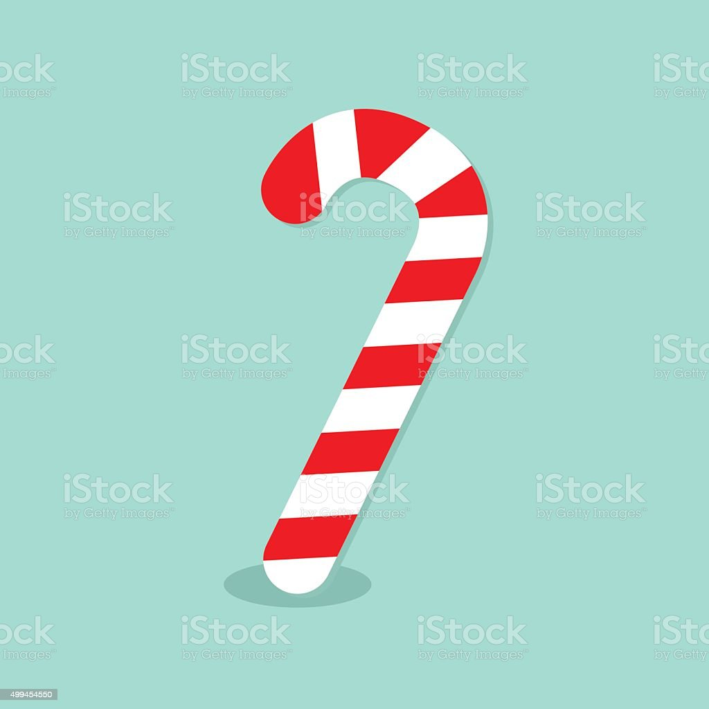 Merry Christmas Candy Cane. Isolated. Flat design. Blue background.