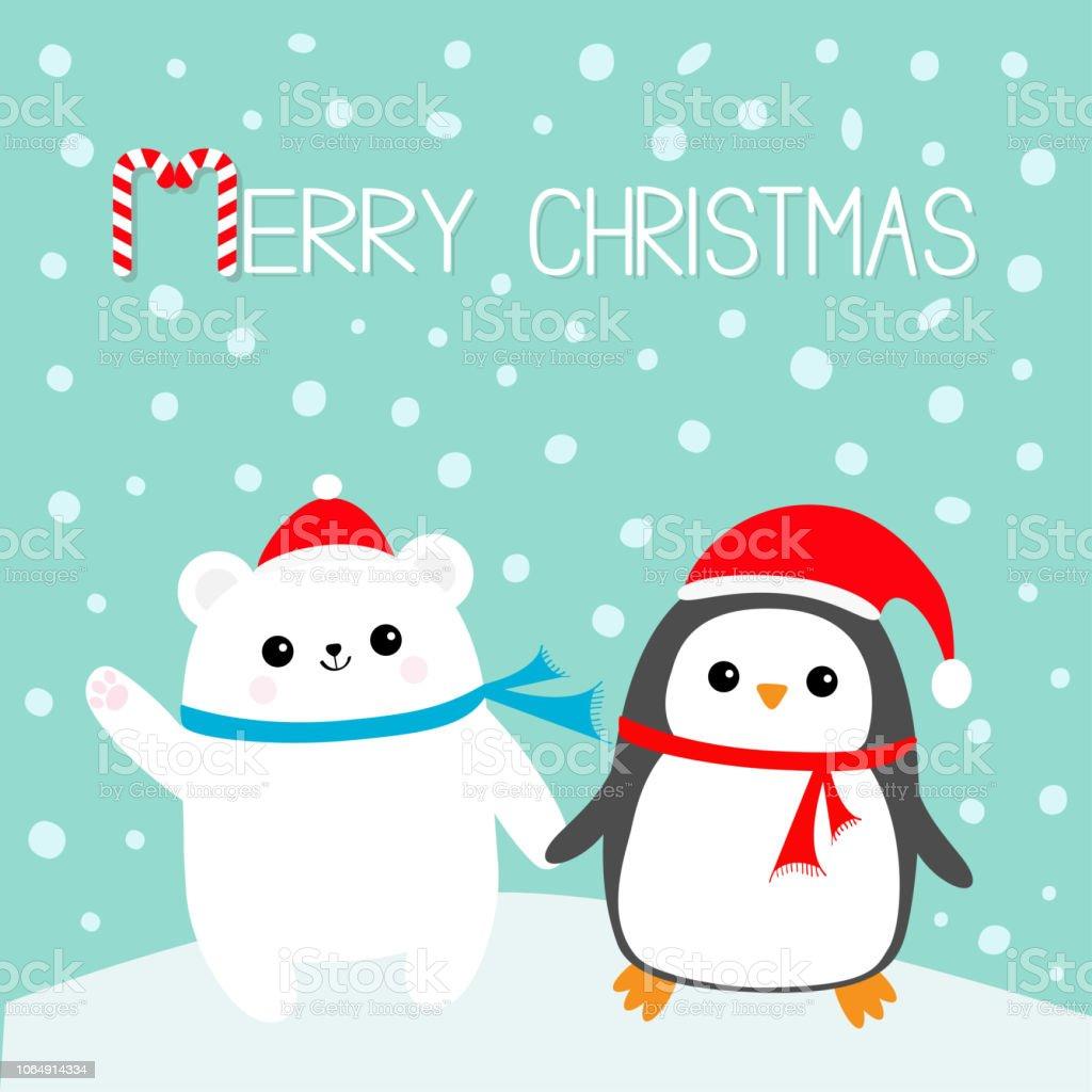 Ilustracion De Feliz Navidad Baston De Caramelo Kawaii Pinguino