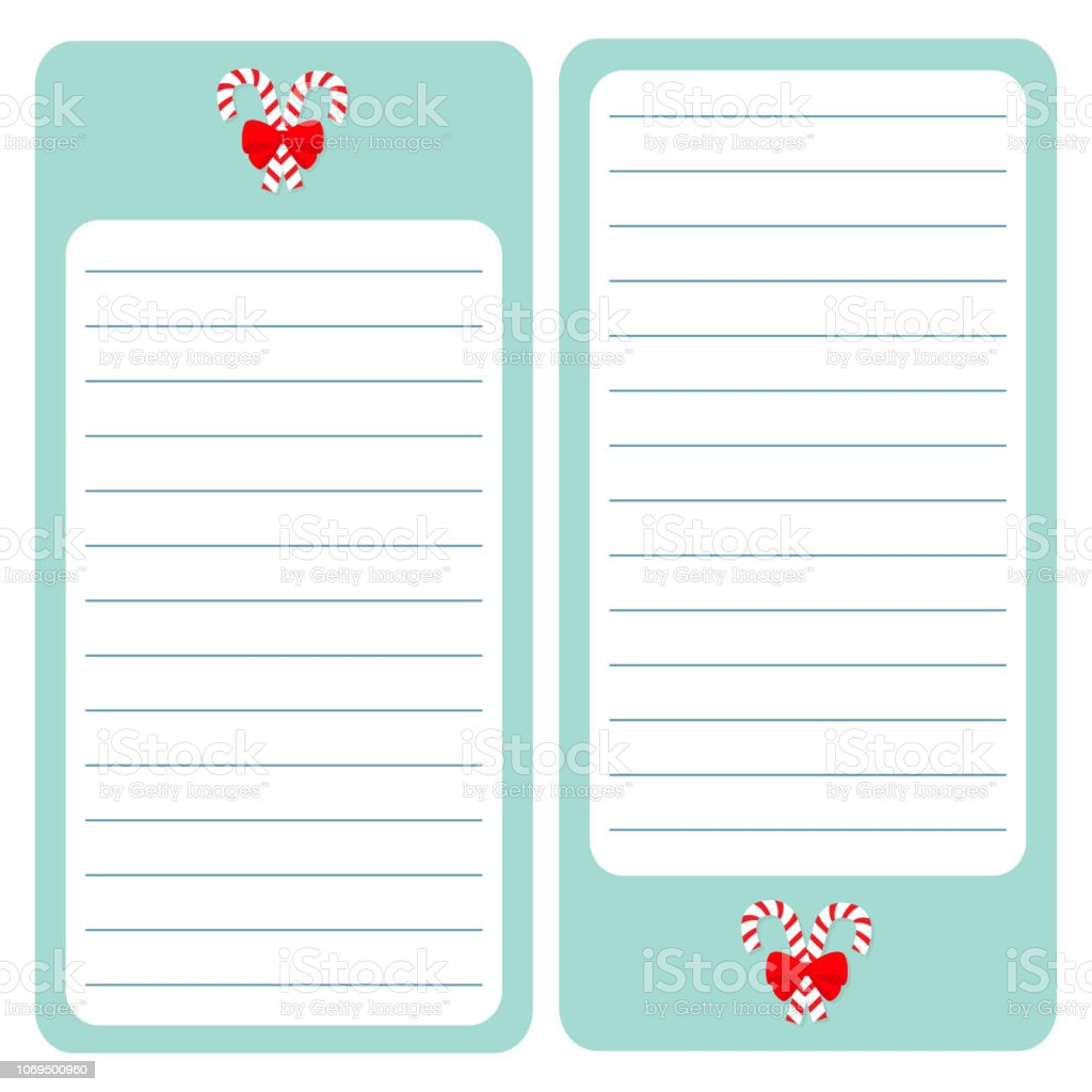 Christmas List Organizer.Merry Christmas Candy Cane Paper Note List Pad Planner Set