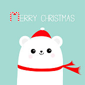 Merry Christmas Candy cane. Polar white bear cub head face wearing red Santa hat scarf. Cute cartoon smiling baby character. Arctic animal collection. Flat design Winter background.