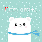 Merry Christmas Candy cane. Polar white bear cub head face wearing scarf. Cute cartoon smiling baby character Arctic animal collection Flat design Winter blue background Snow flake