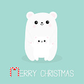 Merry Christmas Candy cane. Polar white small little bear cub. Cute cartoon character set. Mother hugging baby Arctic animal Flat design. Winter blue background.