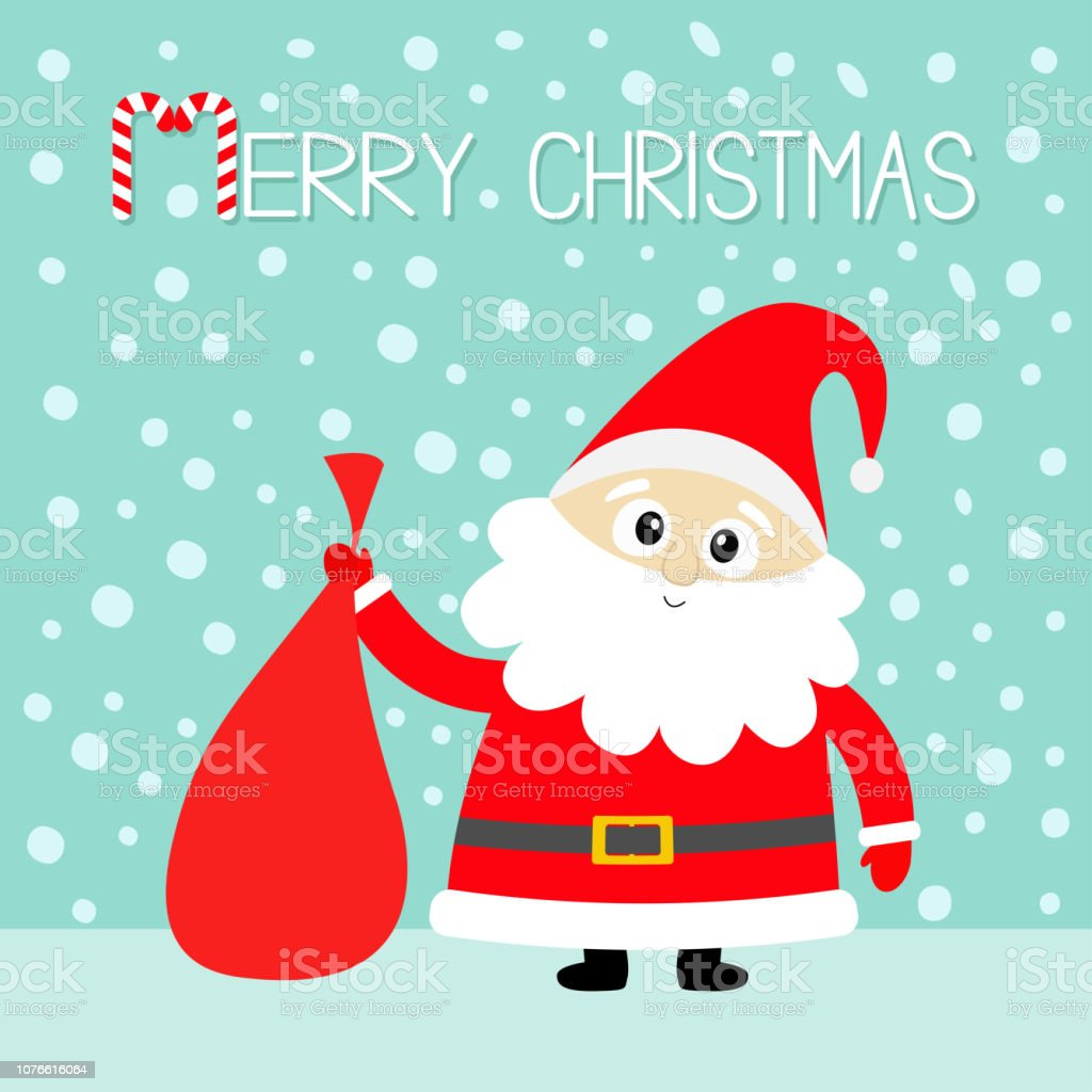 Joyeux Noël Canne En Bonbon Père Noël Tenant Sac Sac Cadeau Chapeau
