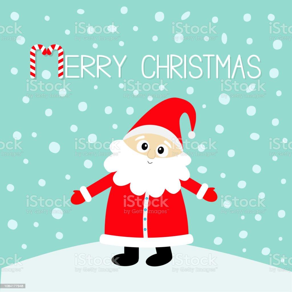 Joyeux Noël Canne En Bonbon Père Noël En Rouge Chapeau