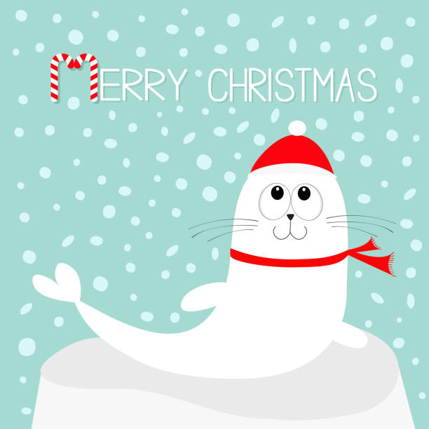 865b763abb4 Merry Christmas Candy cane text. White Sea lion. Harp seal pup lying on  iceberg
