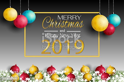 merry christmas card and new year 2019 with a lamp on the grass background stock vector