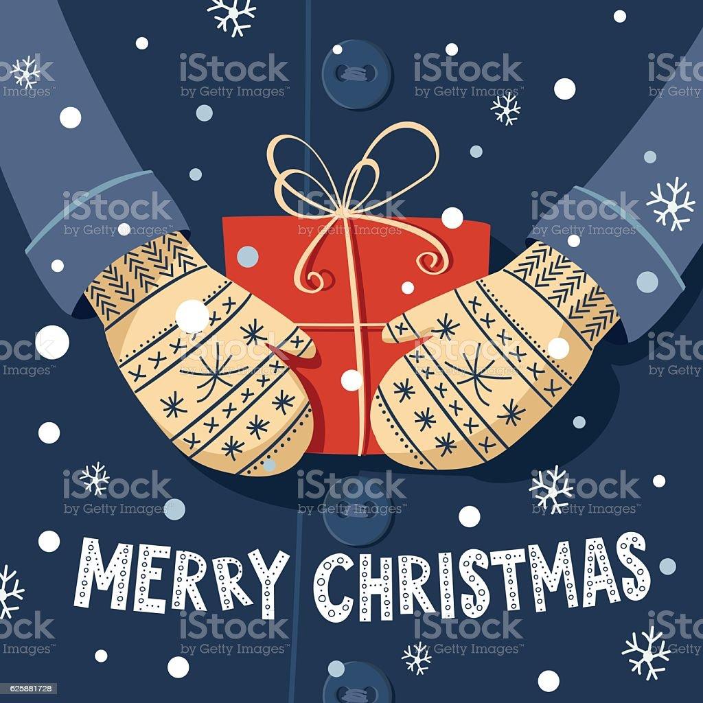 merry christmas card gift_coat mittens vector art illustration