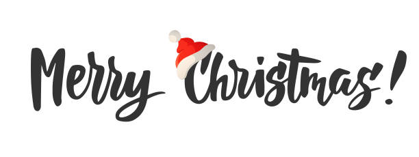 Merry Christmas card. Hand drawn lettering. Great for gift tags and labels. Banner with Merry Christmas text. Red Santa hat. Hand drawn lettering. Holiday greeting quote isolated on white. Also great for New Year and Christmas posters, website headers, gift tags and labels. single word stock illustrations