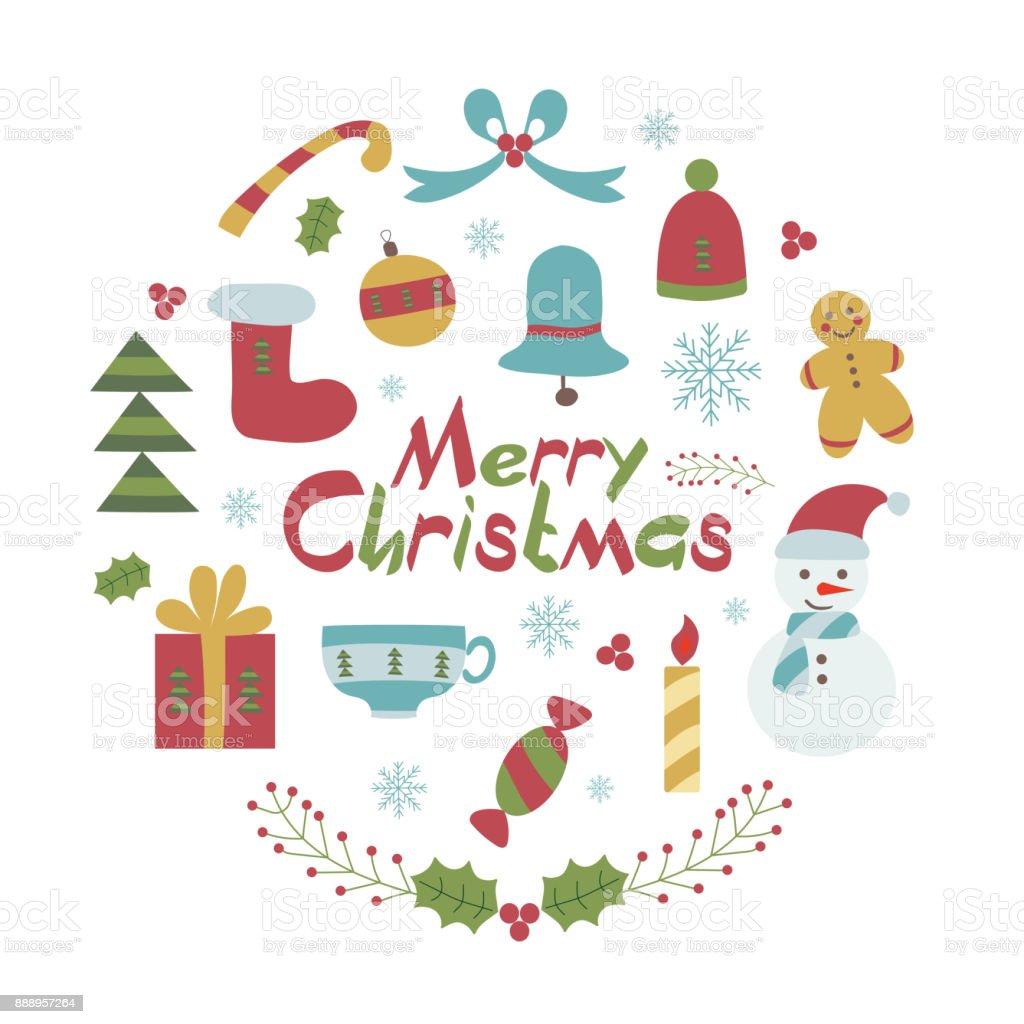 Vetores De Cartao De Feliz Natal No Estilo Infantil E Mais Imagens