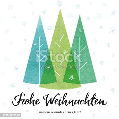 """istock """"Merry Christmas"""" card in german with Christmas Trees. Vector illustration. 1282439513"""