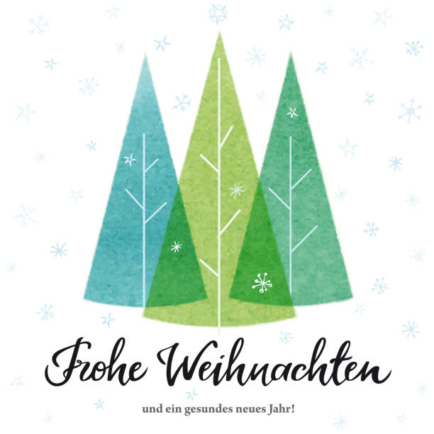 """""""Merry Christmas"""" card in german with Christmas Trees. Vector illustration. vector art illustration"""