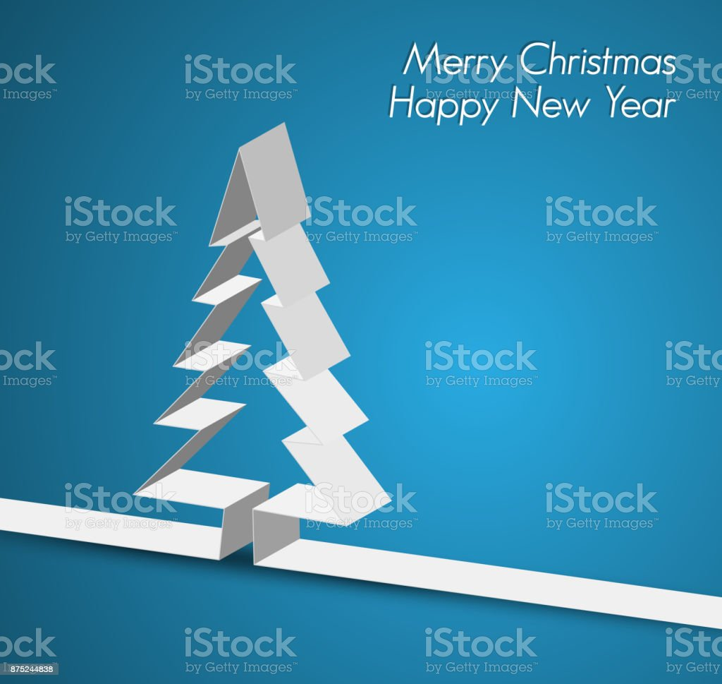 Merry Christmas card made from paper stripe vector art illustration