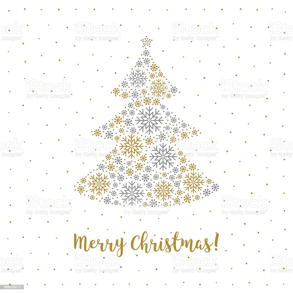 merry christmas card minimalist style abstract tree snowflakes white background royalty free - How To Sign A Christmas Card