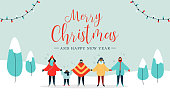Merry Christmas and Happy New Year illustration of diverse people group singing xmas carols songs in snow landscape. Flat style holiday design for winter season.