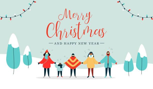 stockillustraties, clipart, cartoons en iconen met merry christmas card van diverse mensen zingen - zingen