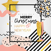 Merry Christmas card, poster, design. Trendy, modern, style layout, template. Typography on white background with stripes, dots, goden glitter, brush strokes, golden star and champagne glass