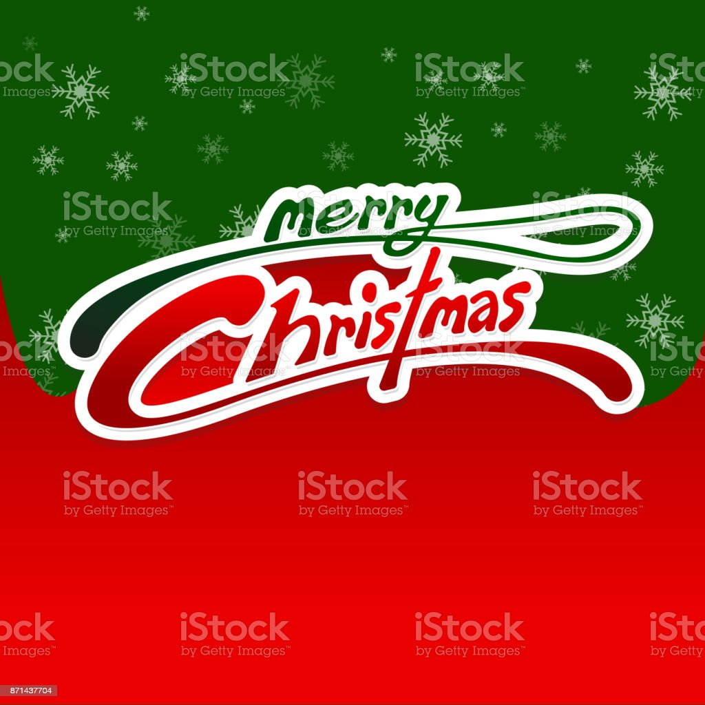 Merry Christmas Card Red And Green Background Copy Space For