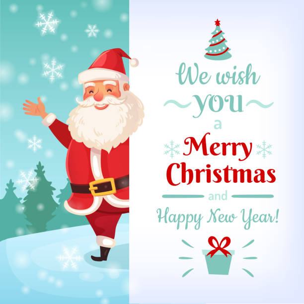 ilustrações de stock, clip art, desenhos animados e ícones de merry christmas card. santa claus greeting cards template, winter holidays banner vector illustration - santa claus