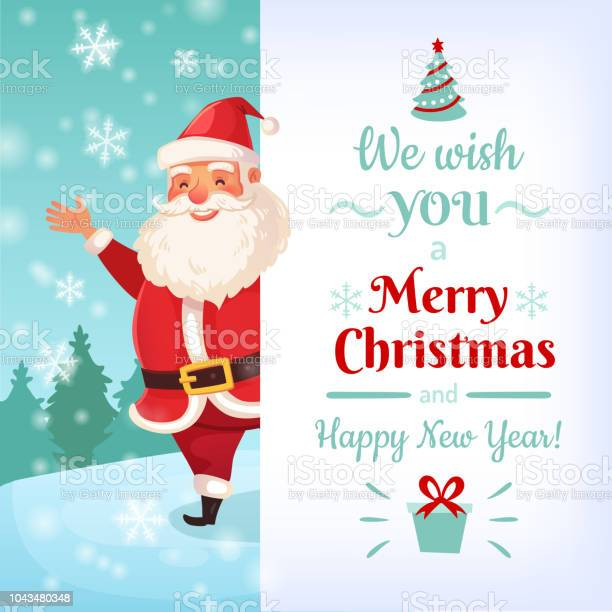 Merry Christmas Card Santa Claus Greeting Cards Vorlage Winter Urlaub Bannervektorillustration Stock Vektor Art und mehr Bilder von 2019