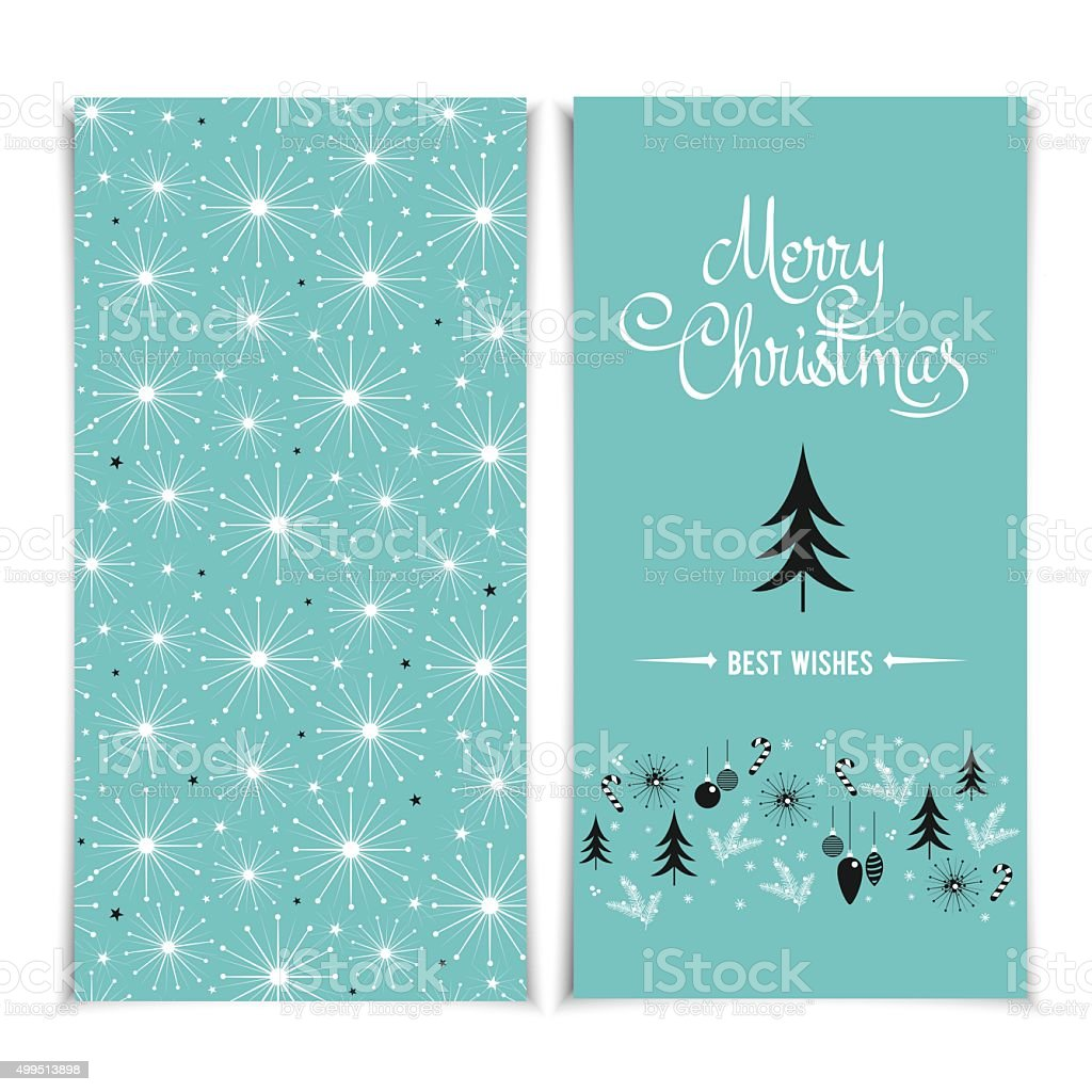Merry Christmas card template. Christmas blue Posters set vector illustration. vector art illustration