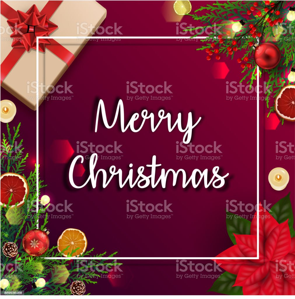 Merry Christmas Card Template With Christmas Element Stock Vector