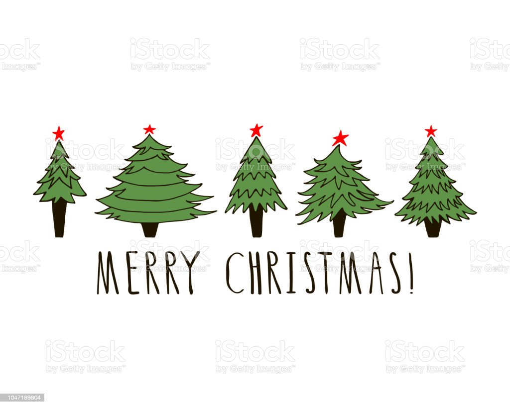 merry christmas card template with hand drawn new year trees stock