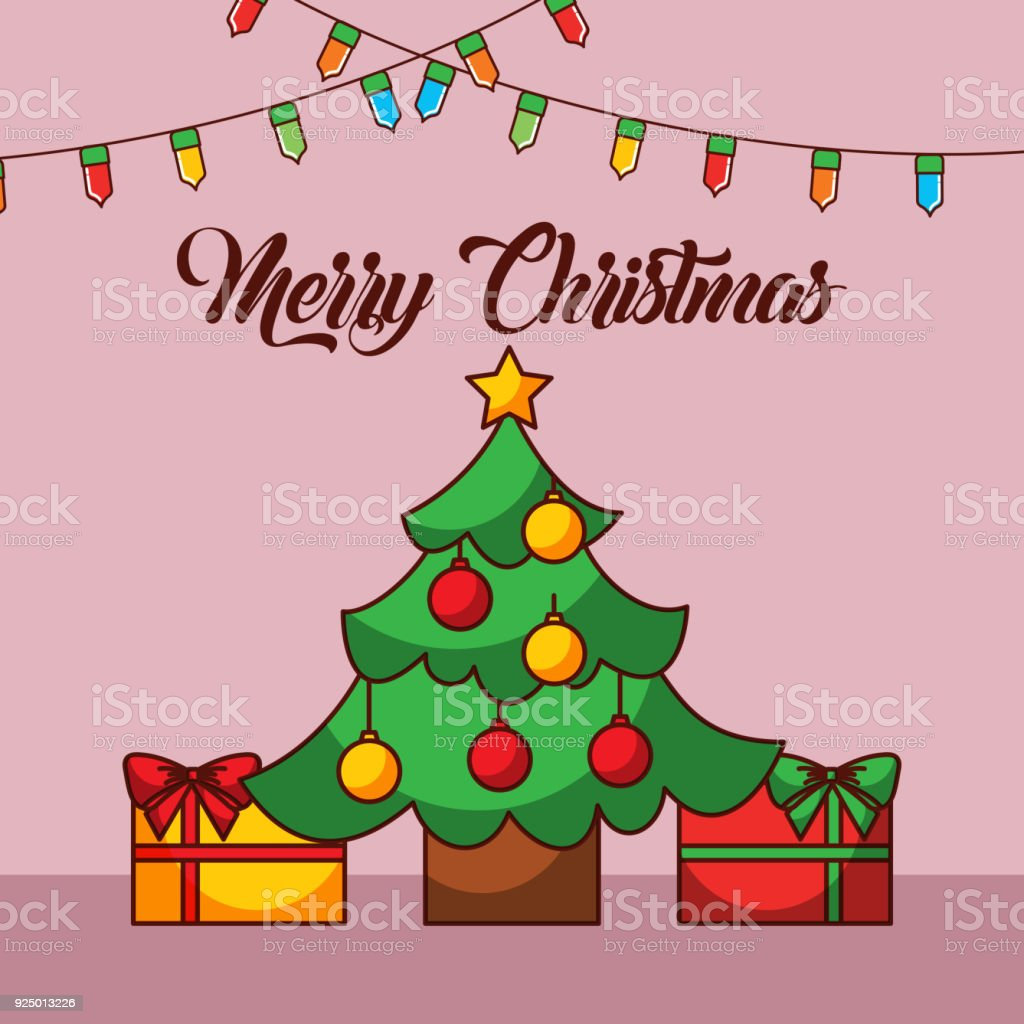 merry christmas card tree star balls gift boxes and light decoration vector art illustration