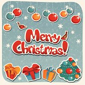Vector Christmas card with Christmas design elements and Merry Christmas lettering. The card was made in retro/vintage style using some grunge elements. The lettering was created by me using pen tool, no fonts were used here. The illustration contains transparency effects. The file was saved as AI10 version.