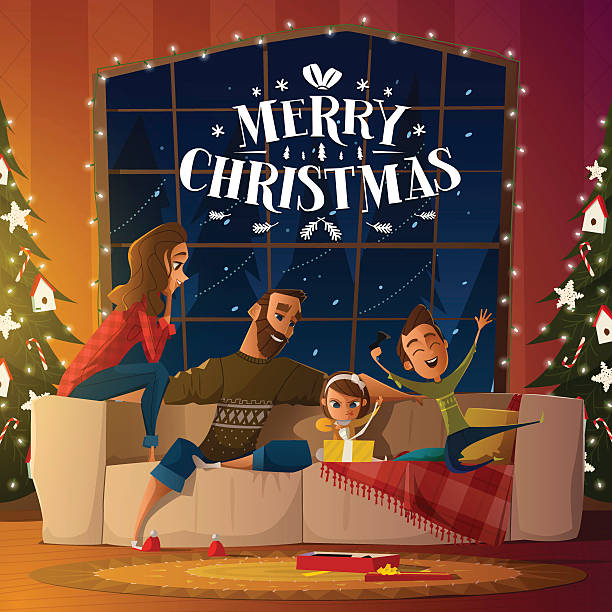 Merry Christmas card Merry Christmas card with family christmas family stock illustrations