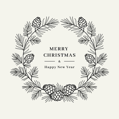 Merry Christmas card, Winter wreath Pine tree branch with cones, Floral wreath. Merry Christmas and Happy New Year greeting. Vector illustration