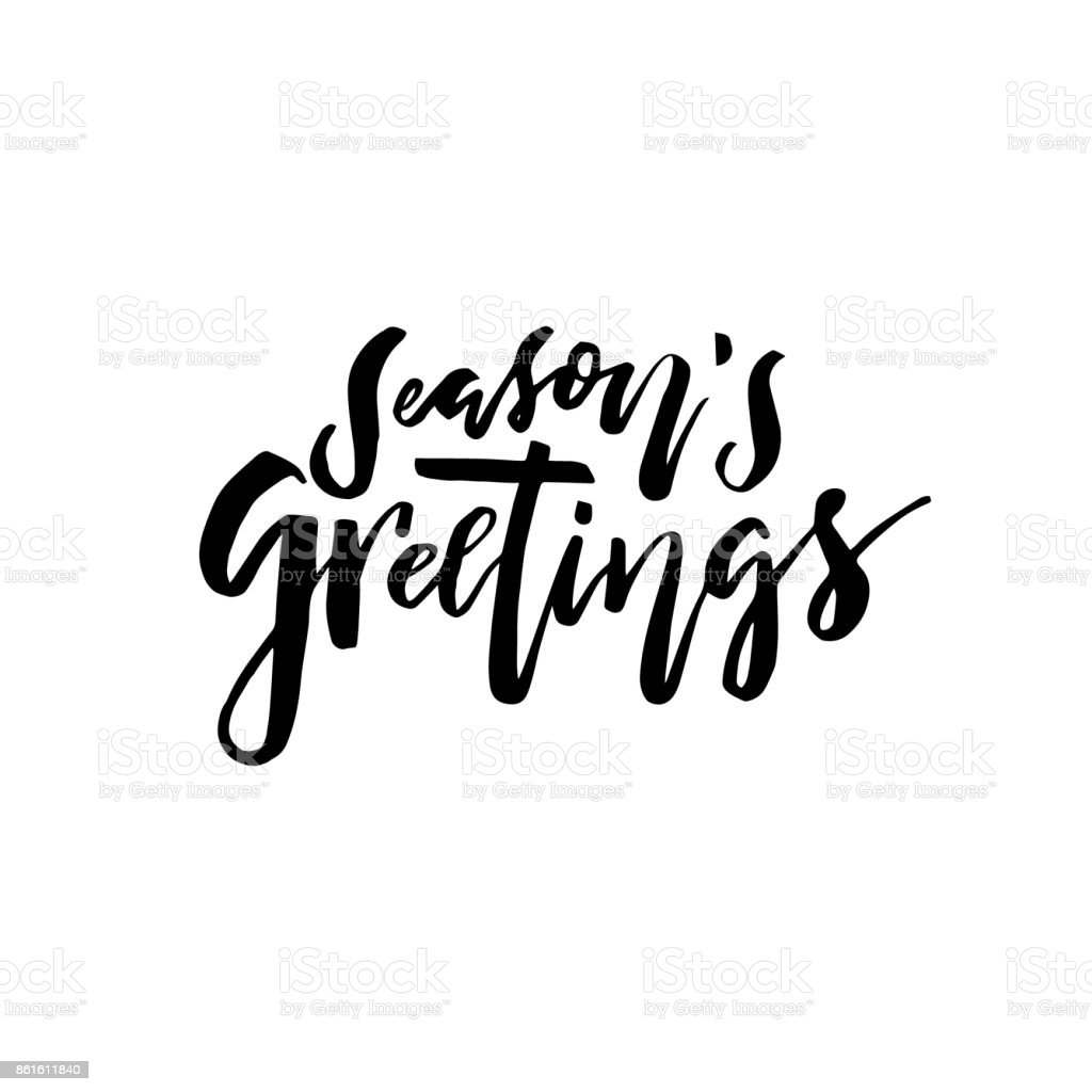 Merry Christmas Card With Calligraphy Seasons Greetings Vector