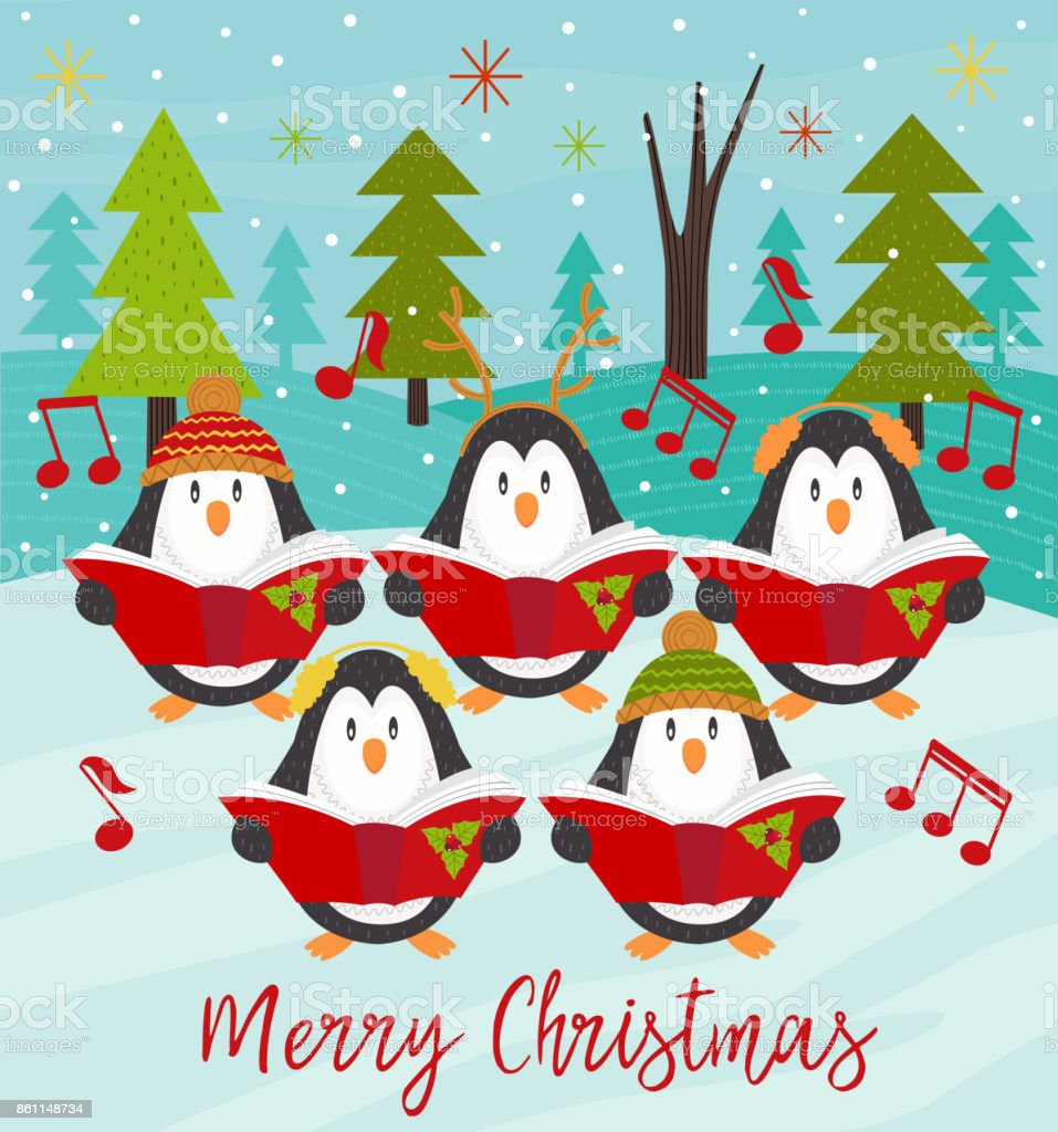 Merry Christmas Card With Choir Penguins Stock Vector Art More