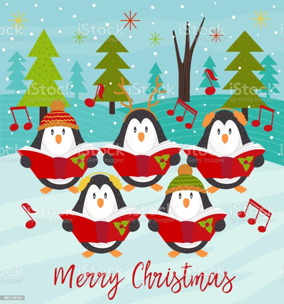 Merry Christmas card with choir penguins vector art illustration