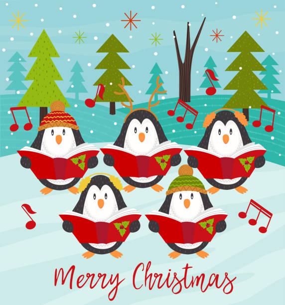 stockillustraties, clipart, cartoons en iconen met merry christmas card met koor pinguins - zanger vogel