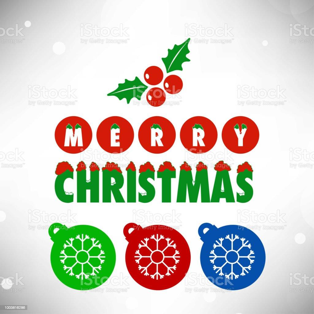 Lustige Weihnachtskugeln.Lustige Weihnachtskarte Mit Weihnachtskugeln Und Schneeflocken Stock